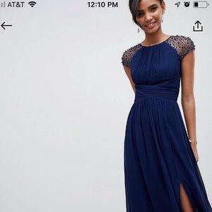 Little Mistress Embellished Maxi Dress Navy - Navy
